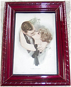 Antique Postcard Harrison Fisher Alone At Last Victorian Kissing