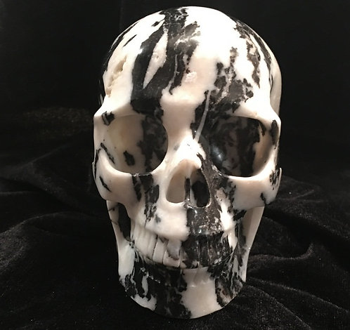 Large Activated Zebra Jasper Crystal Skull Sculpture - Black and White