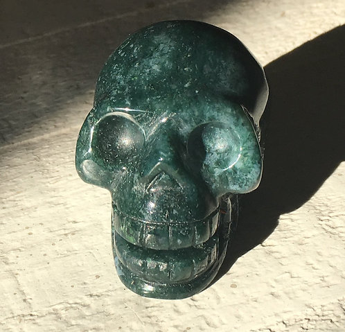 Activated Singing Moss Agate Crystal Skull, Grounding Manifestation Crystals
