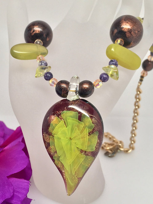 Sunburst Dichroic Glass Necklace with Amethyst, Serpentine Jade, Purple Charoite