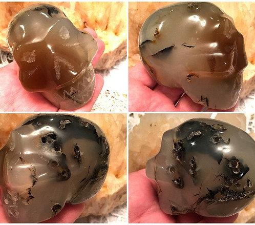Vintage Dendritic Carnelian Agate Crystal Skull - Personal Power