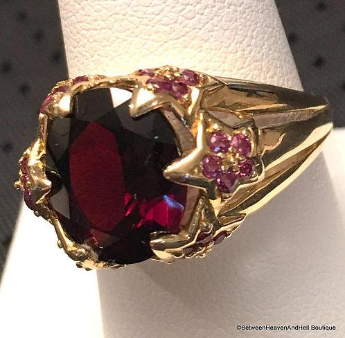 Vintage 14k Mozambique & Rhodolite Garnet Gemstone Ring Size 9 - Etruscan Style