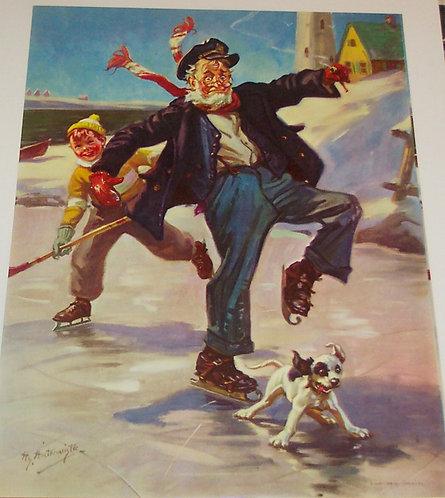 Vintage Print Ice Hockey with grandpa and his Dog Hy Hintermeister, Boys Decor