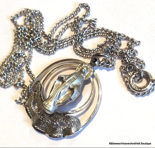 Vintage Sterling Filigree Miraculous Medal Our Lady Of Grace Necklace
