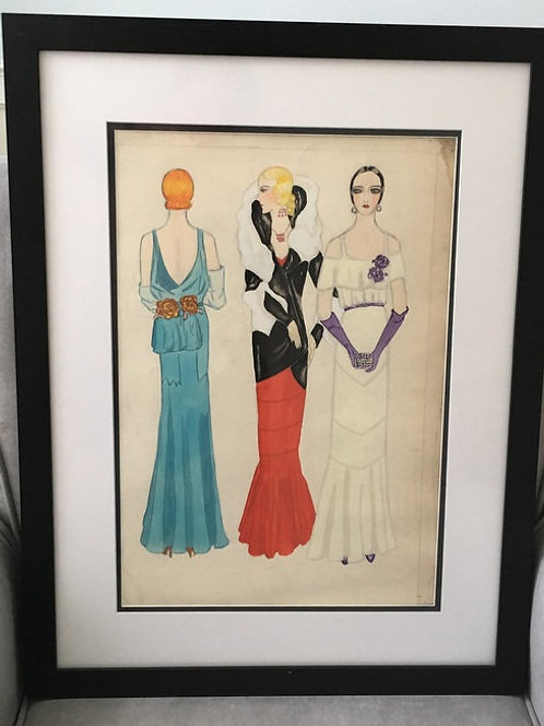 Signed 1930's Art Deco Fashion Painting 3 Sexy Ladies - Framed