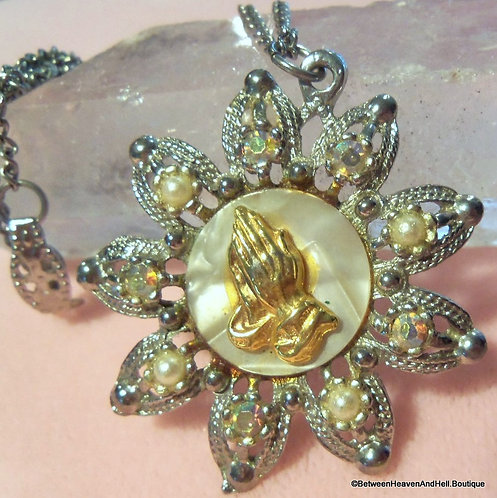 Vintage Ab Rhinestone Lucite Religious Praying Hands Necklace