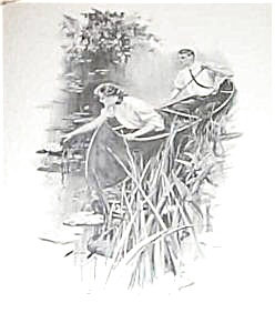 Antique Vintage Prints: Harrison Fisher: Canoe Lake Romance