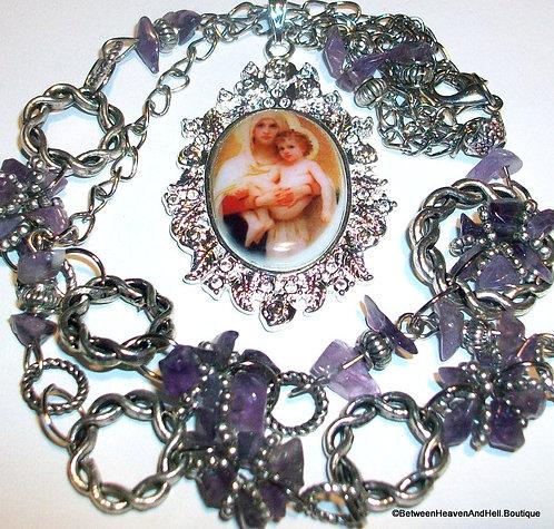 Madonna & Child Amethyst Gemstone Necklace Handmade Religious Jewelry