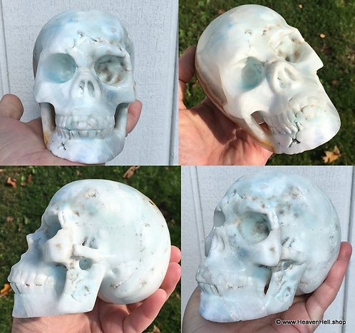 """5"""" Psychic Ability Large Activated Blue Aragonite Skull, Divine Energy"""