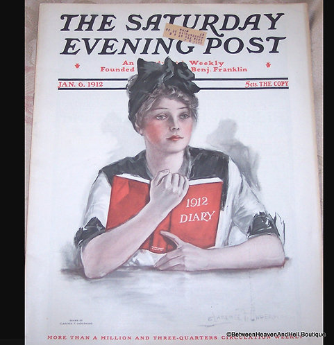 1912 Complete Saturday Evening Post Magazine, Clarence Underwood  Cover art