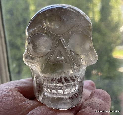 "3"" Activated Clear Smoky Quartz Skull - Grounding Energy for Manifesting Desires"