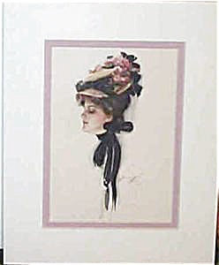 Harrison Fisher Print Ruth> Lady With Hat Of Roses