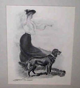 Early 1900's Vintage Print Victorian Lady & Dog, Point Setter