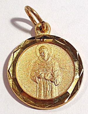 Vintage Gold Tone Saint Francis Pendant Medal
