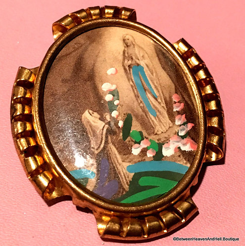 Vintage Handpainted Brooch Our Lady Of Lourdes Virgin Mary