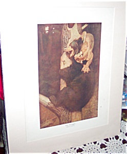 Vintage Hunting Prints: Philip R Goodwin The Struggle : Bear