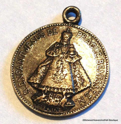 Vintage Religious Medal Signed Penin Infant Of Prague Silver Jesus Pendant
