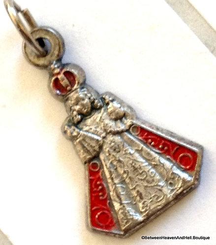 Vintage Infant of Prague Figural Charm Pendant Red Enamel Medal