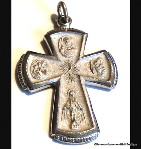 Religious Jewelry Vintage Sterling 4 Way Cross St Christopher Joseph Virgin Mary