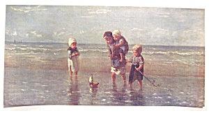 Vintage Print Children Seashore Ocean Beach Josef Isreals