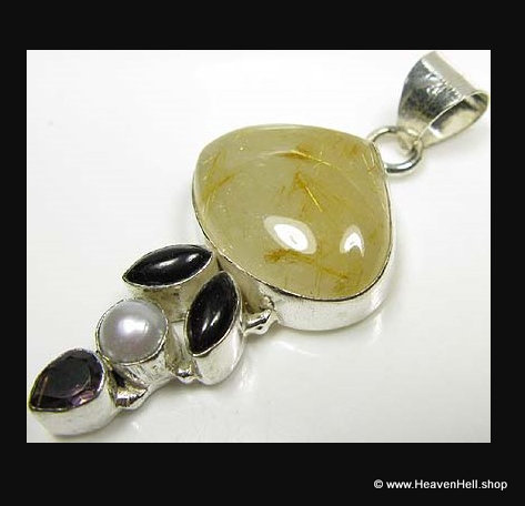Gold Rutilated Quartz and Amethyst Sterling Silver Pendant, Vintage Jewelry