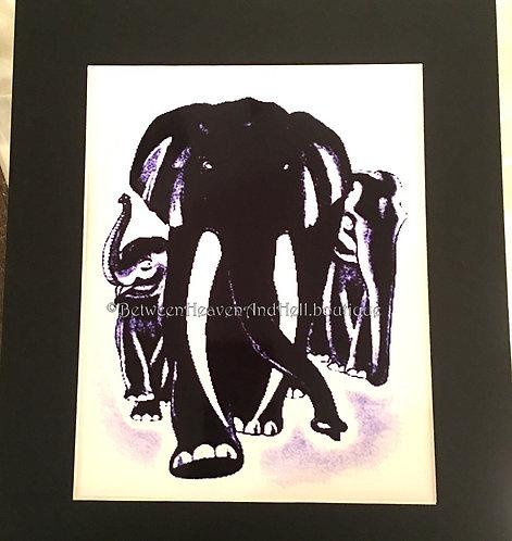 11x14 Elephant Altered Art Giclee Print Black & White Power of Three Elephants