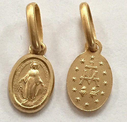 Vintage Tiny Solid 14k Gold Miraculous Medal Bracelet Charm, Virgin Mary Jewelry