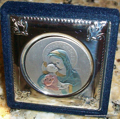 Madonna And Child Sterling Silver Icon Baby Jesus Virgin Mary