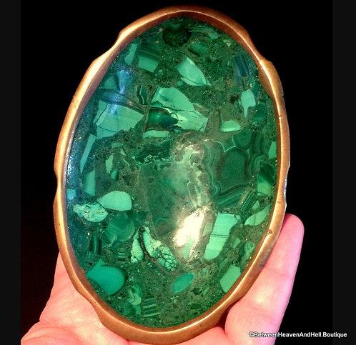 "4.5"" Vintage Green Malachite Gemstone Bowl Home Decor Dish Decorative  Tray"