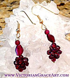Handmade Garnet Gemstone Dangle Drop Earrings Gold Tone handcrafted Jewelry