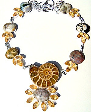 Ammonite Fossil Necklace Sterling Silver Citrine Ocean Jasper