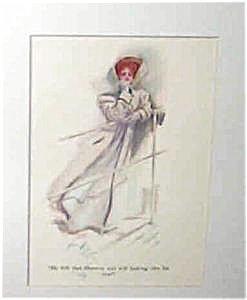 Art 1908 Harrison Fisher Print Lady On Ship At Sea