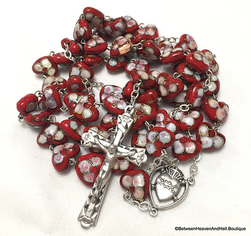 """22"""" Large Silver and Red Cloisonne Rosary Beads Heart Shaped Rosaries"""