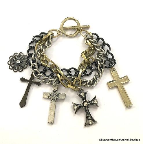 Chunky 3 Row Cross Charm Bracelet Rhinestone Crosses Gold Silver Black