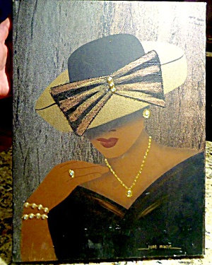 Vintage African American Chic Woman Painting Rhinestones Bow Hat