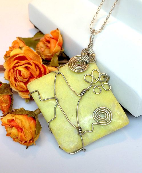 Handcrafted OOAK Whimsical Daisy Spiral Yellow Jasper Wire Wrapped Pendant