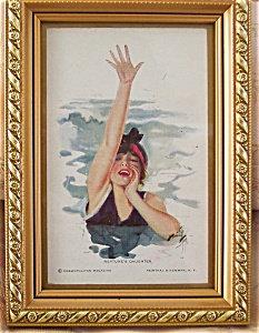 Neptune's Daughter Harrison Fisher Postcard: Victorian Swimmer