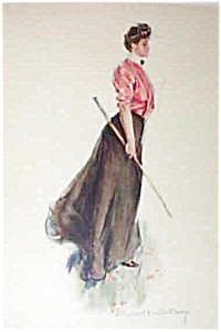 Howard Chandler Christy Print Victorian Golfing Lady On The Links