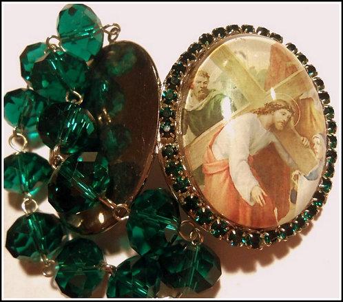 Large Shrine Locket Jesus Virgin Mary St. Joseph Prayer Beads, Remembrance Gift