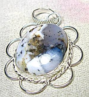 Winter Dendritic Agate Gemstone Sterling Pendant: