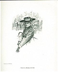 Antique Vintage Equestrian Art Prints Harrison Fisher Riding Lady