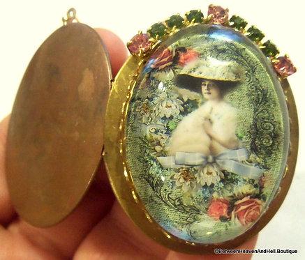 Rhinestone Edwardian Woman Locket Glass Cameo Shabby Roses Remembrance Jewelry