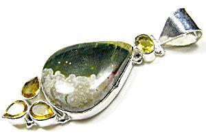 Ocean Jasper Citrine Multi Gemstone Pendant Sterling Silver