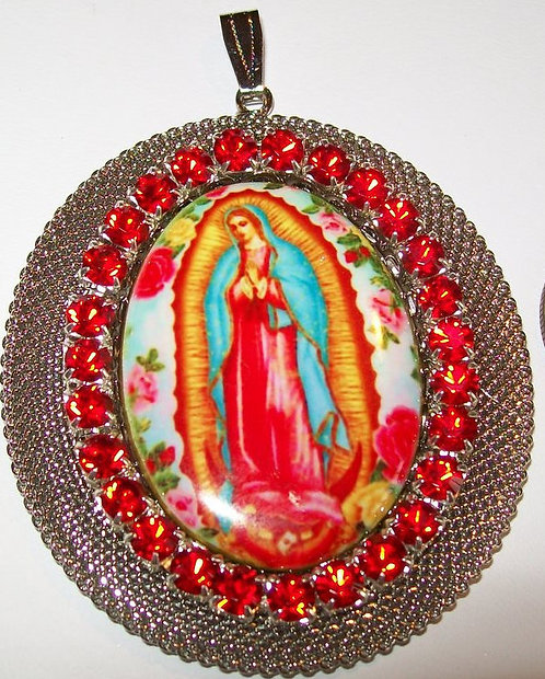 """3"""" Large Our Lady Of Guadalupe Pendant Porcelain Cameo Red Rhinestone jewelry"""