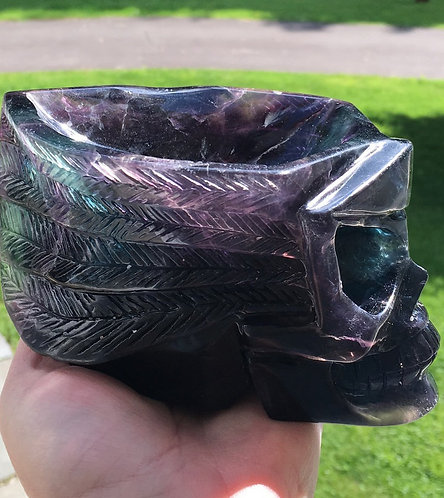 Large Rainbow Fluorite Crystal Skull Bowl - Intricately Hand-Carved