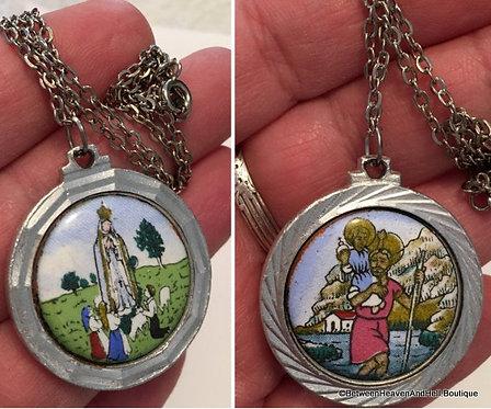 Large Vintage Our lady of Fatima St. Christopher Pilgrimage Necklace Pendant