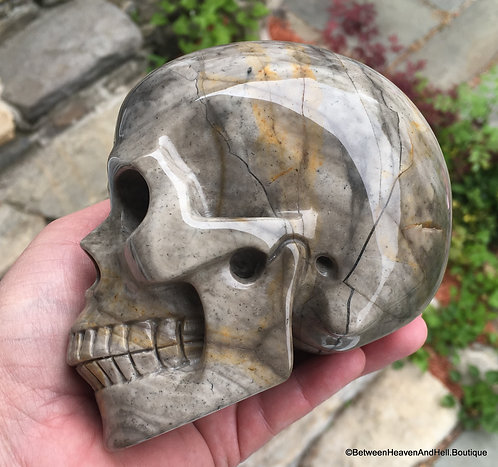 Large Abstract Jasper Activated Crystal Skull, Akashic records Scrying