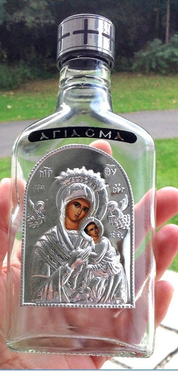 """Large 7"""" Vintage Glass Holy Water Bottle Silver Our Lady of Perpetual Help Icon"""