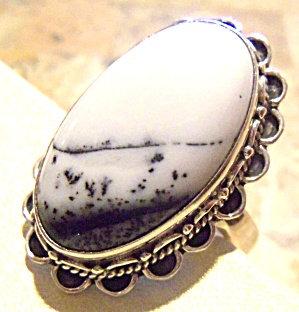Winter White Black Dendritic Opal Gemstone Ring 10.75