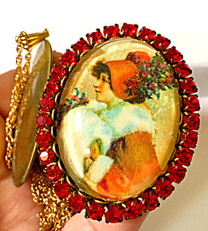 Vintage Christmas Jewelry: Red Rhinestone Lady Cameo Locket Remembrance Necklace